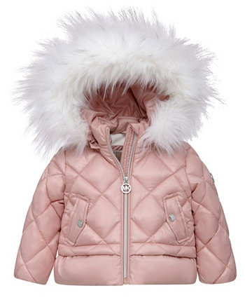 Стеганое пальто с ромбами и отделкой из искусственного меха для маленьких девочек Michael Kors