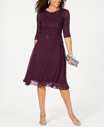 Кружевное контрастное платье с блестками Alex Evenings