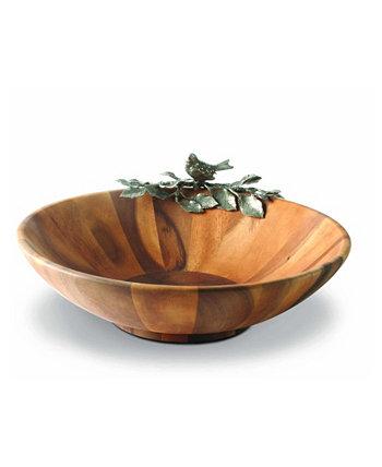 Большая тарелка для салатов из дерева акации и оловянная певчая птица Vagabond House