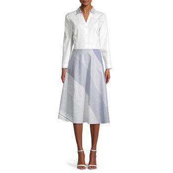 Mixed Stripe Button-Front Cotton Dress Donna Karan