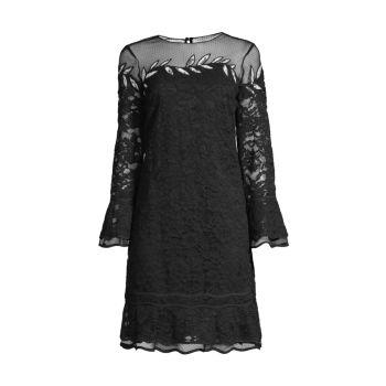 Кружевное платье прямого кроя с вышивкой SHANI