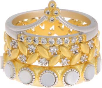 Кольцо Fleur Bloom EMPIRE с перламутром Mismatched 3-Stack Ring Freida Rothman