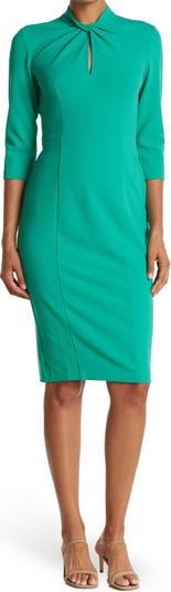 Twisted Neck 3/4 Sleeve Sheath Dress Donna Morgan