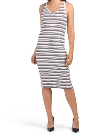 Stripe Button Front V-neck Dress Laundry by Shelli Segal