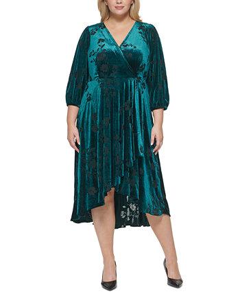 Бархатное платье миди трапециевидной формы больших размеров Calvin Klein