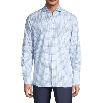 Contemporary-Fit Lightweight Plaid Shirt Eton