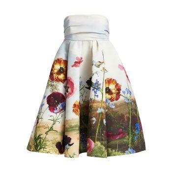 Платье без бретелек с цветочным рисунком Oscar de la Renta