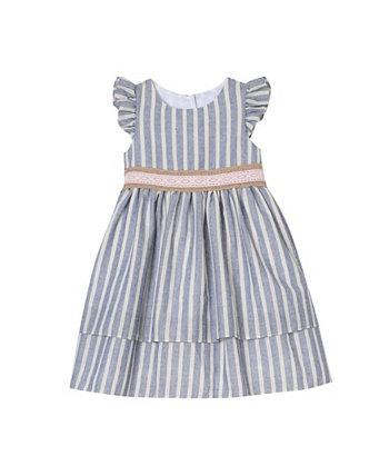 Легкое платье в полоску для маленьких девочек с двухслойной юбкой Laura Ashley