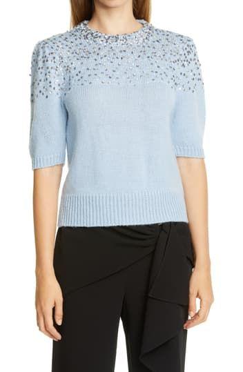 Cinq á Sept Lisa Sequin Puff Sleeve Sweater Cinq a Sept