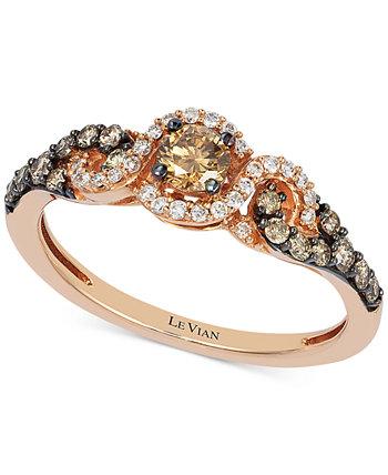 Кольцо с бриллиантами и тремя камнями из розового золота 14 карат (1/2 карата тв.) Le Vian