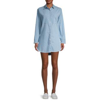 Джинсовое мини-платье-рубашка с потертостями STELLAH