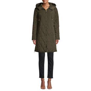 Стеганое пальто с капюшоном Tech Weave Donna Karan
