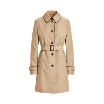 Faux-Leather-Trim Trench Coat Ralph Lauren