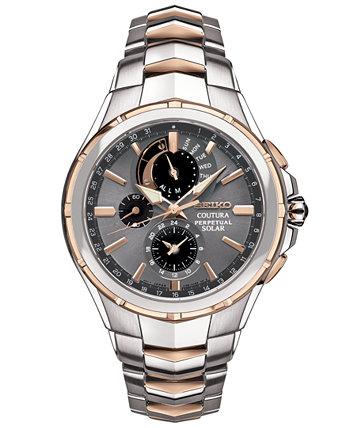 Мужские часы Coutura Solar с двухцветным браслетом из нержавеющей стали с хронографом 44 мм Seiko