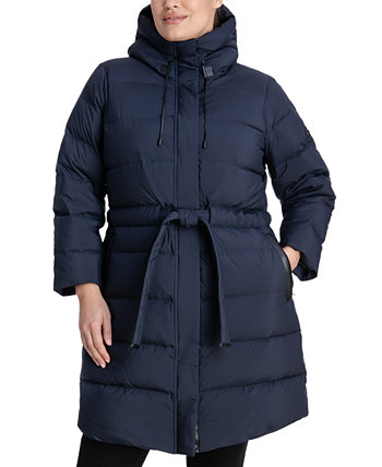 Plus Size Hooded Belted Puffer Coat, Created for Macy's Michael Kors
