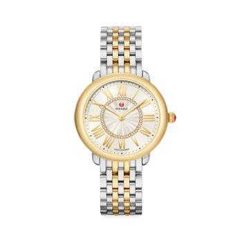Часы Serein Mid с двухцветным бриллиантом и браслетом Michele