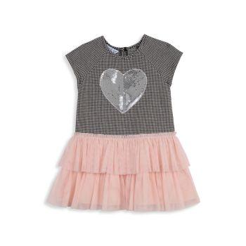 Многоярусная сетчатая юбка и юбка для маленьких девочек; Платье с пайетками в форме сердца Pippa & Julie