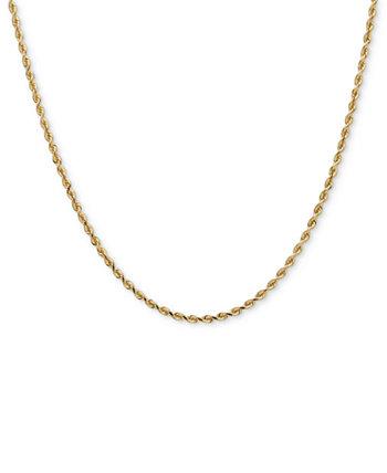 """Колье из золота 14 карат, 30 """"веревочная цепь с бриллиантовой огранкой (2 мм) Italian Gold"""