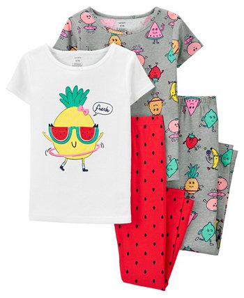 Пижамный комплект из 4 предметов с ананасом для больших девочек Carter's