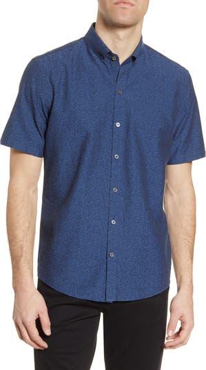 Рубашка с короткими рукавами и пуговицами Bunim из парчи с цветочным принтом Zachary Prell