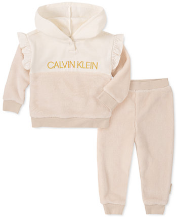 Baby Girls 2-Pc. Толстовка с капюшоном и штанами из искусственной шерсти с капюшоном из искусственного меха Calvin Klein