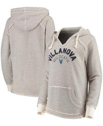 Женский кремовый пуловер с V-образным вырезом в полоску Villanova Wildcats, толстовка с капюшоном из френч терри Blue 84