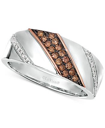 Кольцо с бриллиантами для мужчин и женщин Chocolatier® диагональное (3/8 карат. Вес.) Из стерлингового серебра и розового золота 14 карат Le Vian