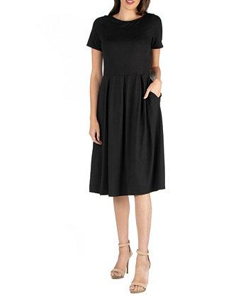 Платье миди с короткими рукавами и карманом 24seven Comfort Apparel