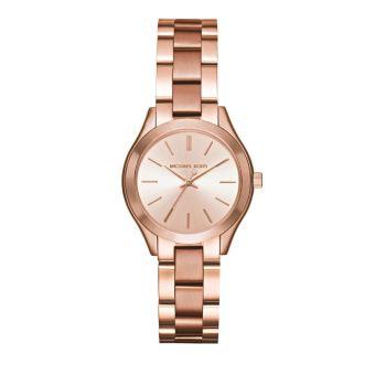 Часы Mini Slim Runway с тремя стрелками цвета розового золота Michael Kors