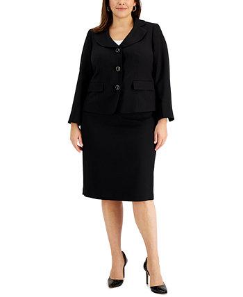 Костюм с юбкой большого размера с изогнутыми лацканами Le Suit
