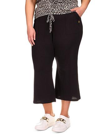 Plus Size Cropped Kick-Flare Jogger Pants Michael Kors