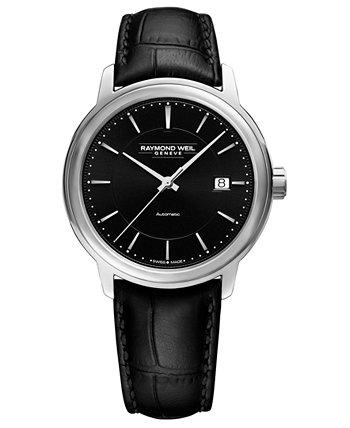 Мужские швейцарские автоматические часы Maestro с черным кожаным ремешком 40 мм Raymond Weil