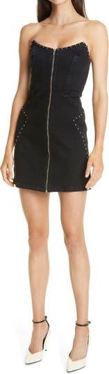 Джинсовое мини-платье без бретелек Brooke GRLFRND
