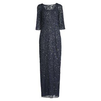 Платье с рукавами три четверти с украшением Aidan Mattox
