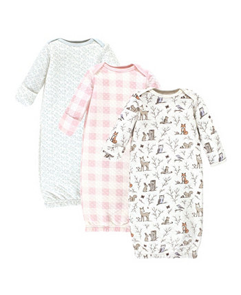 Boys and Girls Quilted Cotton Gowns, Pack of 3 Hudson Baby