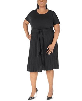 Плиссированное платье миди большого размера с завязками спереди Robbie Bee