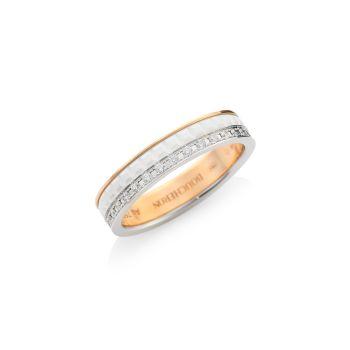 Quatre White Edition Белое золото 18 карат, розовое золото & amp; Кольцо с белым керамическим бриллиантом Boucheron