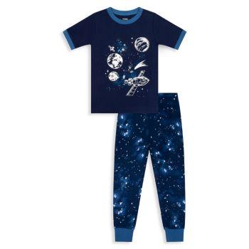 Little Boy's & amp; Двухкомпонентный хлопковый пижамный топ и amp; Комплект брюк Petit Lem