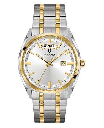 Мужские классические двухцветные часы-браслет из нержавеющей стали 39мм Bulova