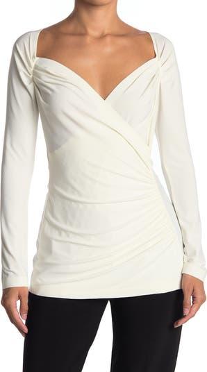 Блузка с длинным рукавом и вырезом сердечком Norma Kamali