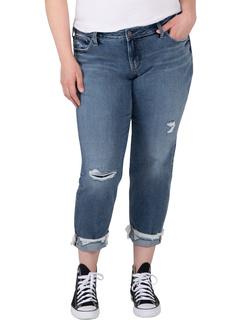 Plus Size Boyfriend Mid-Rise Slim Leg Jeans W27197EPK203 Silver Jeans Co.