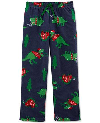 Рождественские флисовые пижамные штаны с динозаврами для маленьких и больших мальчиков Carter's