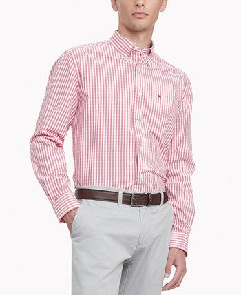 Мужская рубашка в клетку TH Flex из эластичного поплина и ленокс классического кроя Tommy Hilfiger