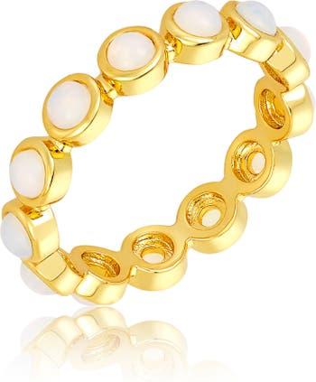 Кольцо Eternity с кабошоном из 14-каратного золота с имитацией опала ADORNIA