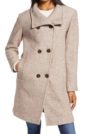 Двубортное пальто из смесовой шерсти Ellen Tracy