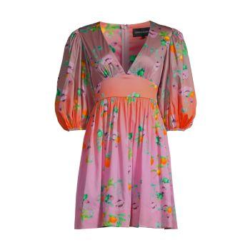Мини-платье с цветочным принтом Ombré Cynthia Rowley