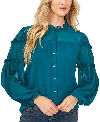 Однотонная блуза на пуговицах с рюшами и рукавами CeCe
