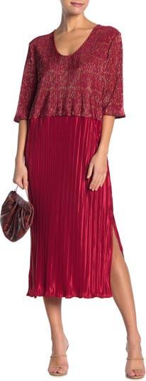 Плиссированное платье-миди с цветными блоками и металлизированной плиткой TOV