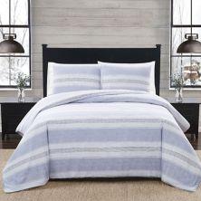 London Fog Stripe Flannel Comforter Set with Shams London Fog