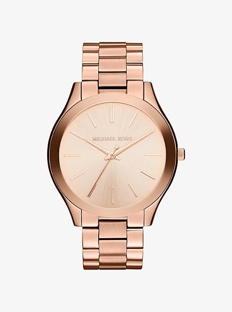 Крупные узкие часы Runway из розового золота Michael Kors